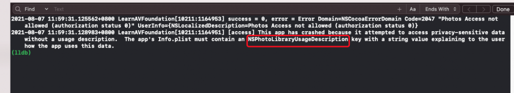 Xcode - This app has attempted to access privacy-sensitive data without a usage description.