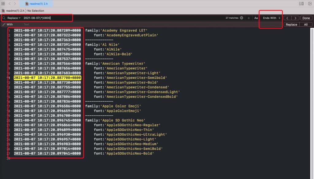 Xcode – Xcode replace 使用正则表达式替换文字